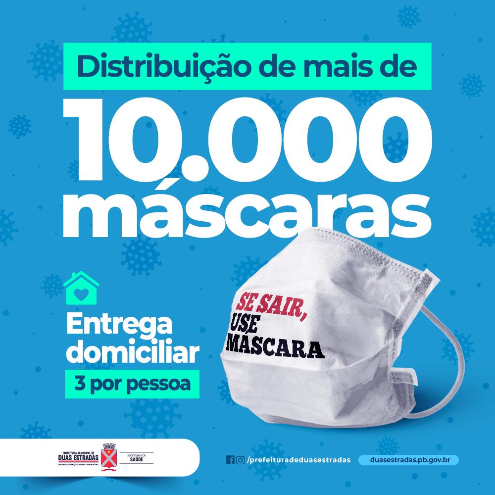 Prefeitura de Duas Estradas fará nova distribuição de máscaras de tecido à toda população