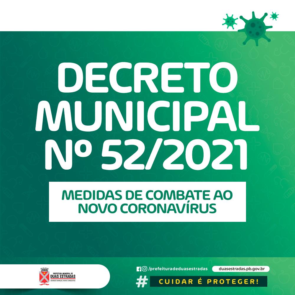 Prefeitura de Duas Estradas lança novo decreto com medidas restritivas contra o Coronavírus