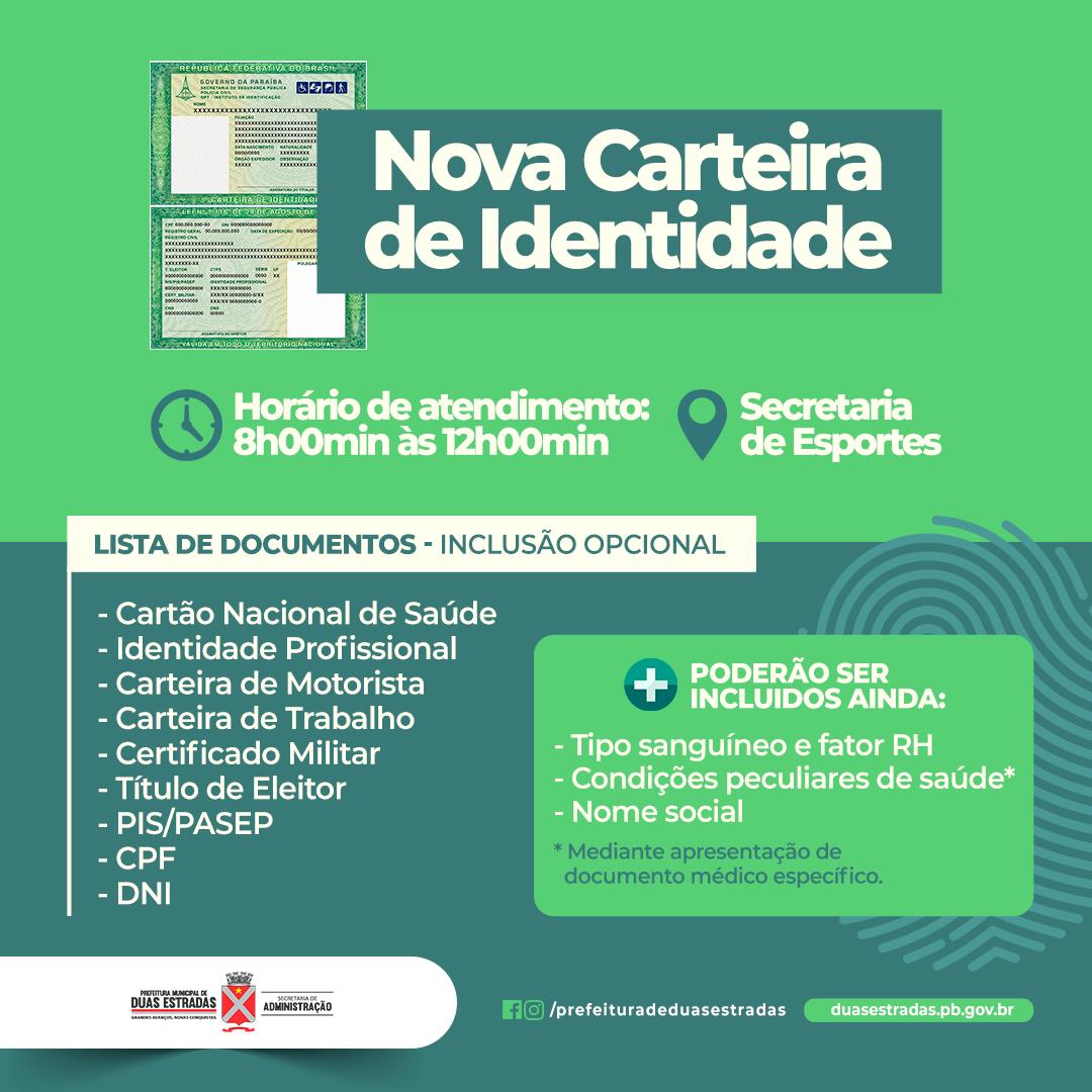 Duas Estradas: Atendimento para emissão da nova Carteira de Identidade será retomado a partir desta segunda (23), na Secretaria de Esportes