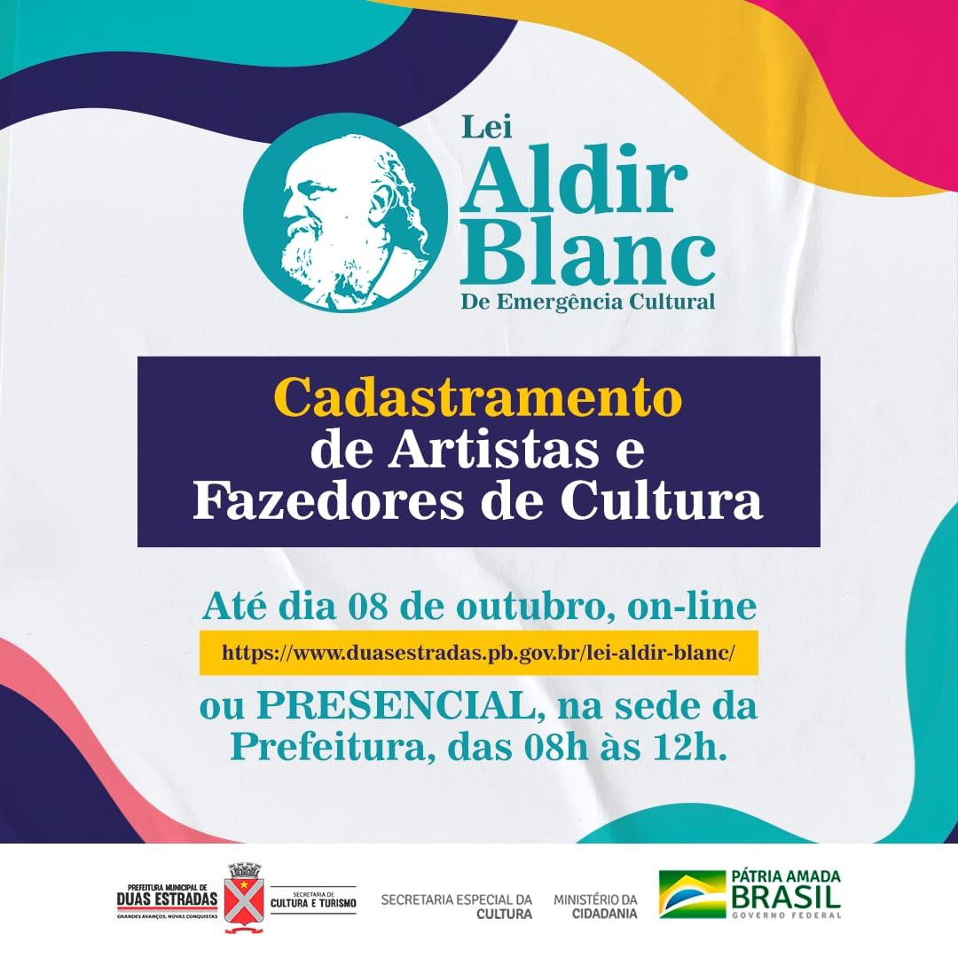 Duas Estradas: Secretaria de Cultura realiza, até dia 08, cadastro de artistas e fazedores de Cultura para Lei Aldir Blanc.