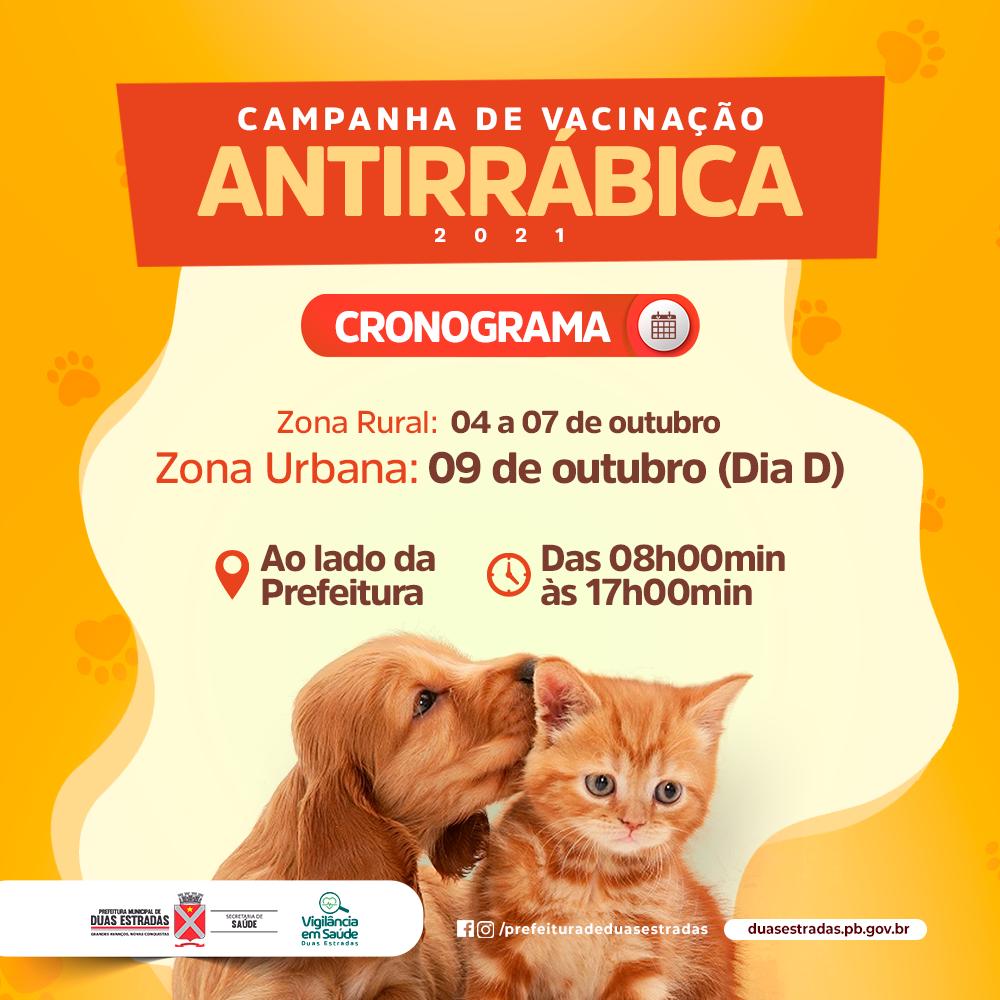 Duas Estradas: Secretaria de Saúde prepara Dia D da vacina antirrábica para sábado (09)