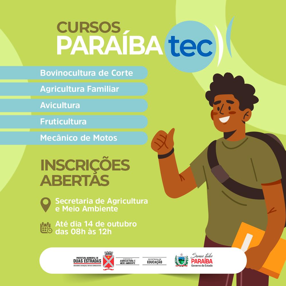 Inscrições abertas, até dia 14, para cursos do Paraíbatec Agricultura, em Duas Estradas